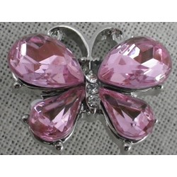 Bouton pression papillon rose